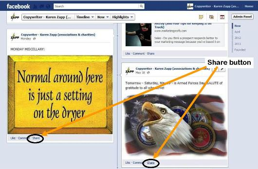 "Example of ""share"" button for Facebook photos"