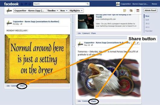 """Example of """"share"""" button for Facebook photos"""