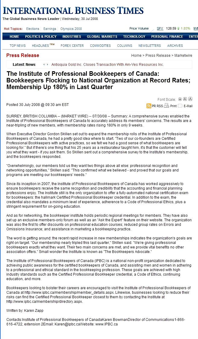 Press Release for the Institute of Professional Bookkeepers of Canada